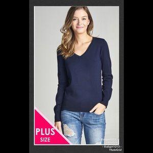  PLUS SIZE - Classic V-Neck Sweater